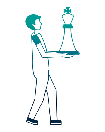young man with king chess piece isolated icon vector illustration design Ilustrace