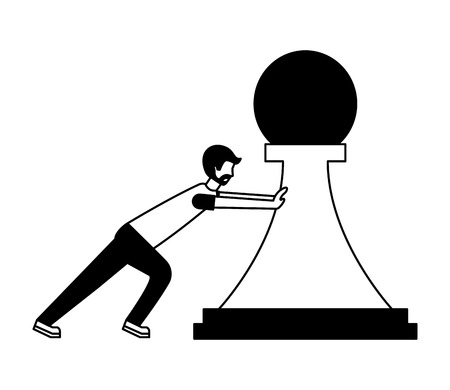 young man pushing pawn chess piece isolated icon vector illustration design Stok Fotoğraf