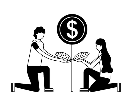 person planting money character vector illustration design Banco de Imagens