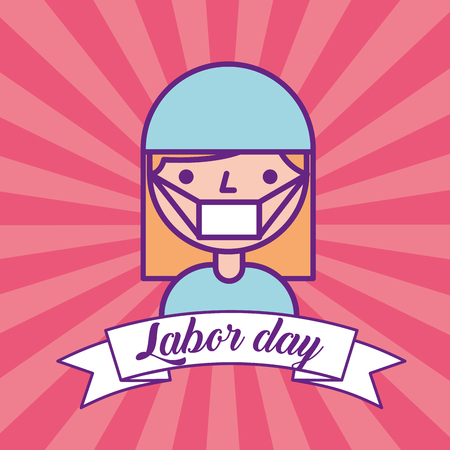 nurse staff medical labor day vector illustration