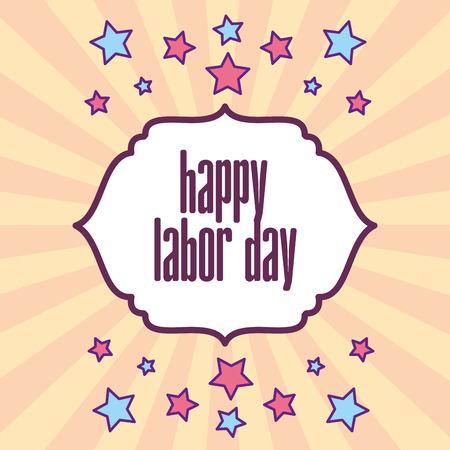 retro label stars decoration happy labor day vector illustration