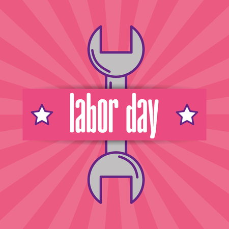 wrench industry tool card labor day vector illustration Stock Photo
