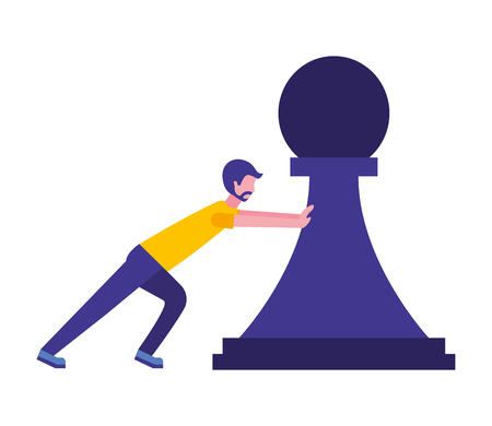 young man pushing pawn chess piece isolated icon vector illustration design 写真素材