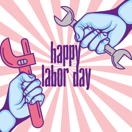 hands with wrench and adjustable key happy labor day vector illustration