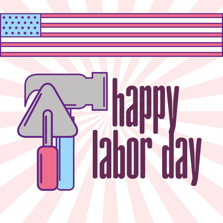 hammer and spatula tools happy labor day vector illustration