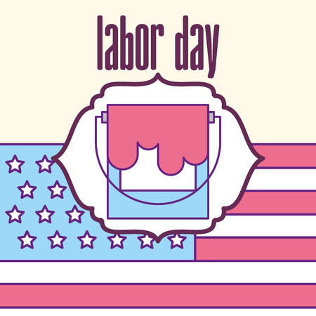 paint bucket color american flag labor day vector illustration