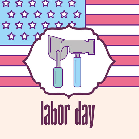 hammer and trowel american flag labor day label vector illustration Çizim