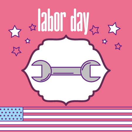 labor day wrench tools greeting card vector illustration