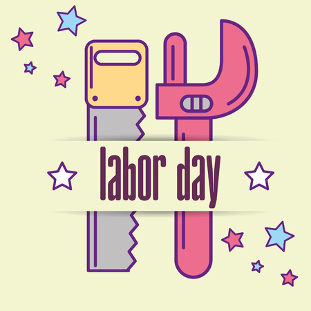equipment tools saw and adjustable wrench labor day vector illustration Ilustração