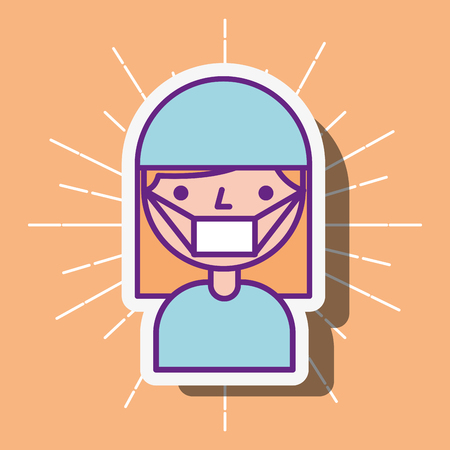 nurse staff medical cartoon character vector illustration