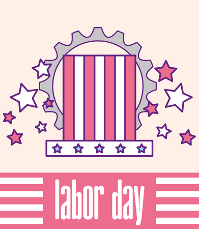 american flag in top hat gear labor day vector illustration