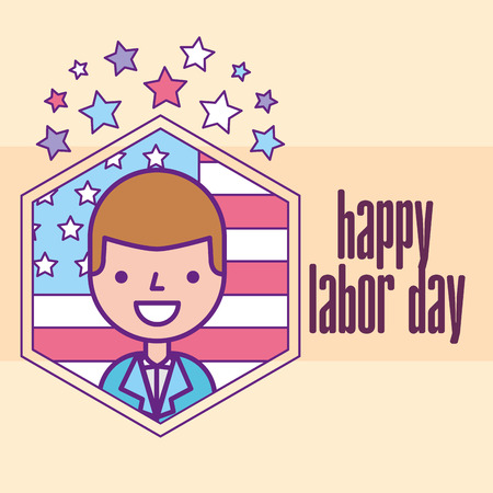 businessman celebrating american flag happy labor day vector illustration