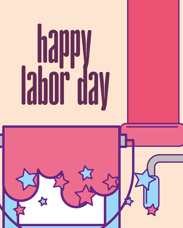 bucket paint and roller tools happy labor day vector illustration Stock Illustratie