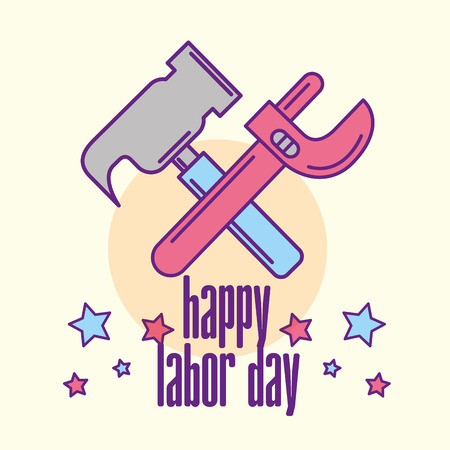 hammer and adjustable key tools happy labor day vector illustration