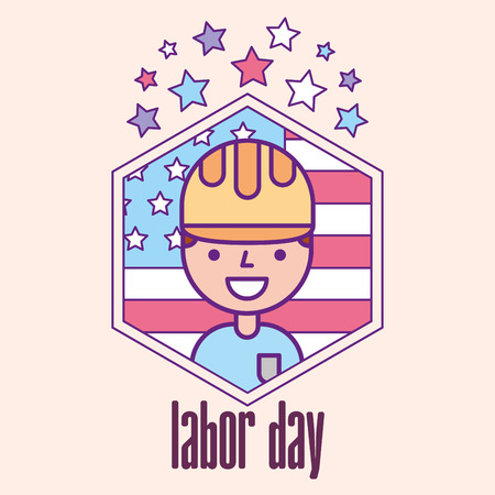 builder man celebrating american flag labor day vector illustration