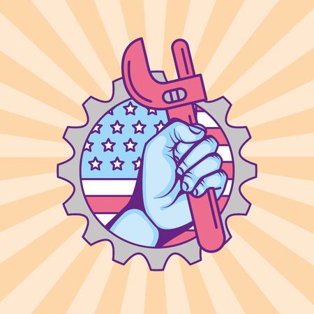 hand holding adjustable wrench american flag label vector illustration