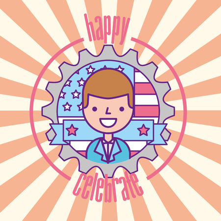 happy businessman american flag labor day celebrate vector illustration