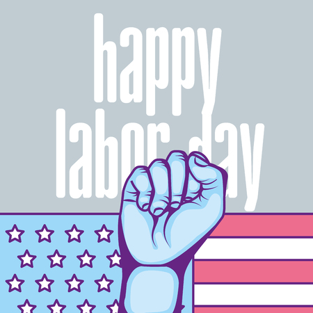 raised hand american flag happy labor day vector illustration