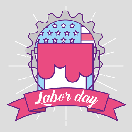 bucket repair american flag labor day emblem vector illustration