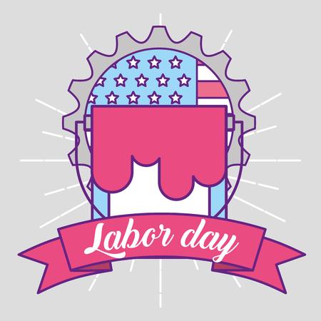 bucket repair american flag labor day emblem vector illustration