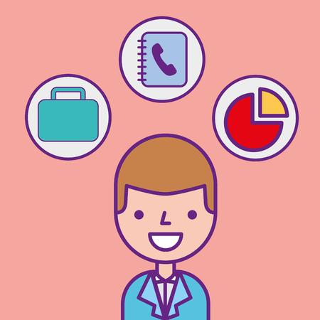 businessman character professional portrait tools vector illustration 일러스트