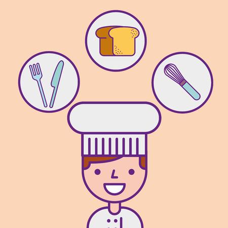 chef character professional portrait tools vector illustration