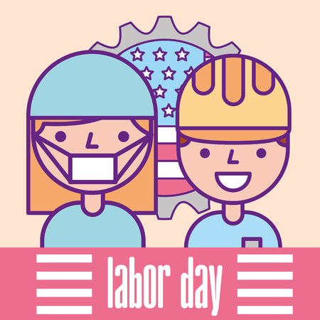 nurse and builder professional american flag labor day vector illustration