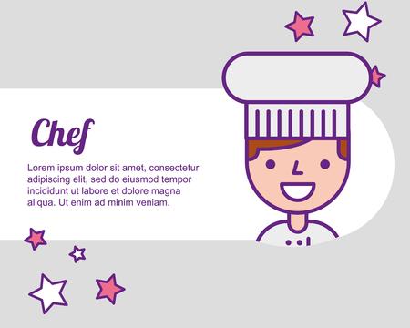 chef man portrait character professional vector illustration
