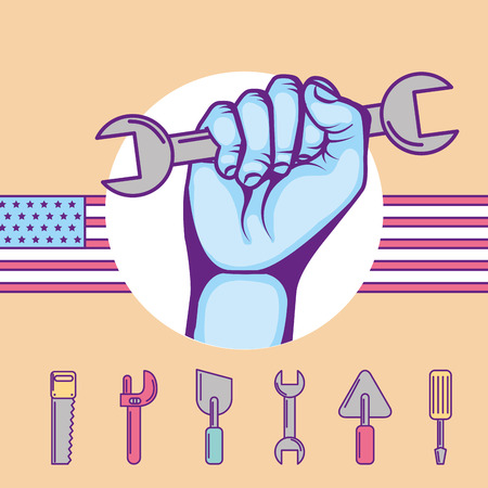 hand holds wrench tools american flag vector illustration