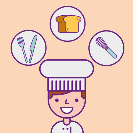 chef character professional portrait tools vector illustration
