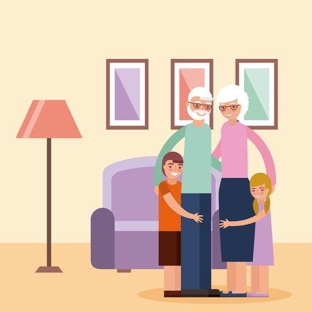 grandparents day happy old couple in living room with grandchildrens embraced vector illustration Ilustração