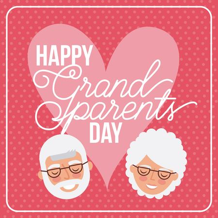 grandparents day heart love sign cute faces old couple smiling vector illustration