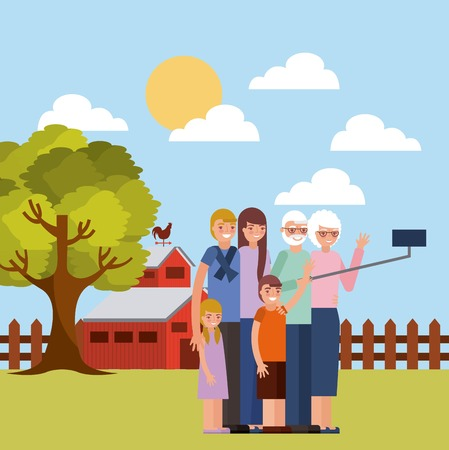 grandparents day outdoor farm sunny day old couple taking photo grandchildrens vector illustration