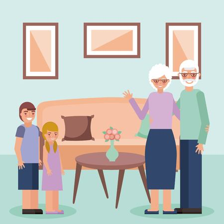 grandparents day old couple embraced room grandchildrens smiling vector illustration
