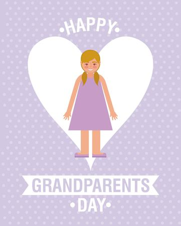 purple dotted background heart love ribbon sign girl stand smiling vector illustration Ilustrace