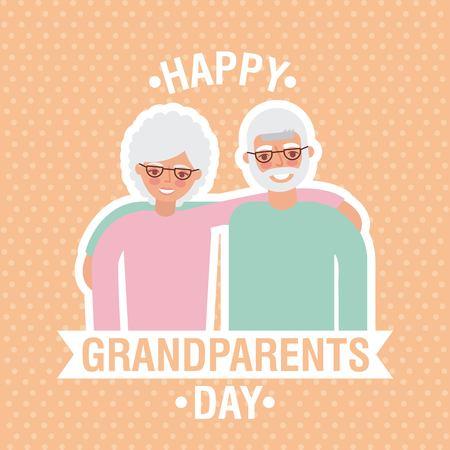 grandparents day dotted background cute older couple embraced ribbon sign vector illustration Ilustração