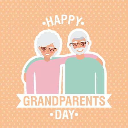 grandparents day dotted background cute older couple embraced ribbon sign vector illustration Illustration