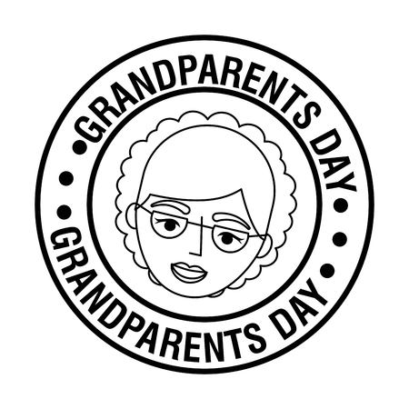 grandparents day happy grandma face label sign vector illustration Illusztráció