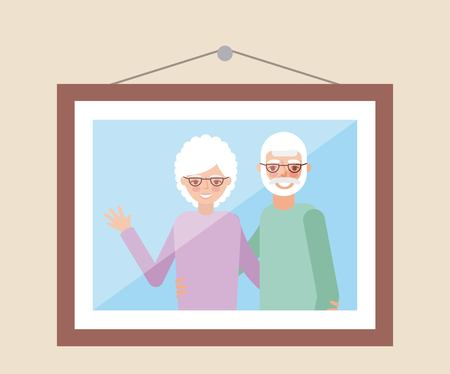grandparents day cute picture in the wall older couple greeting vector illustration