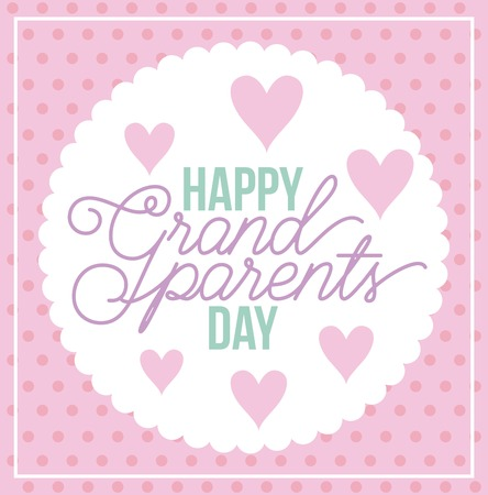 grandparents day dotted background label hearts love sign vector illustration