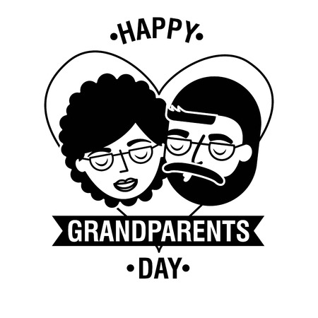grandparents day ribbon sign heart love old couple vector illustration
