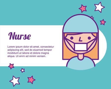nurse medical portrait character professional vector illustration