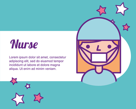 nurse medical portrait character professional vector illustration