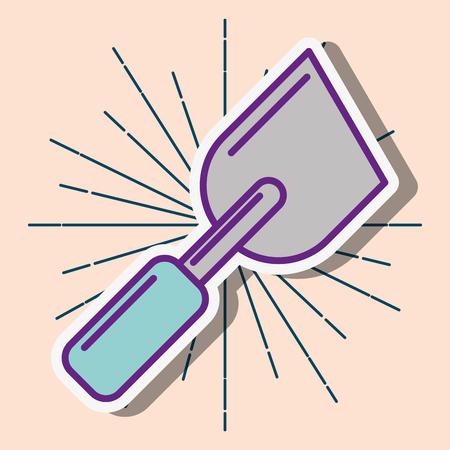 trowel construction tool instrument work cartoon vector illustration Illustration