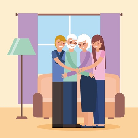 grandparents day color room older couple with grandchildrens smiling vector illustration