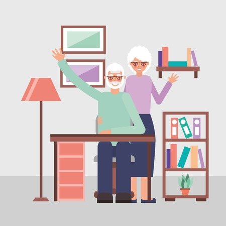 grandparents day cute older couple greeting embraced living room vector illustration Illusztráció