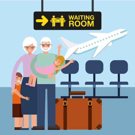 grandparents day happy old couple in the airport with grandchildrens vector illustration Ilustração