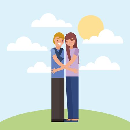young couple standing hugging characters vector illustration Illustration