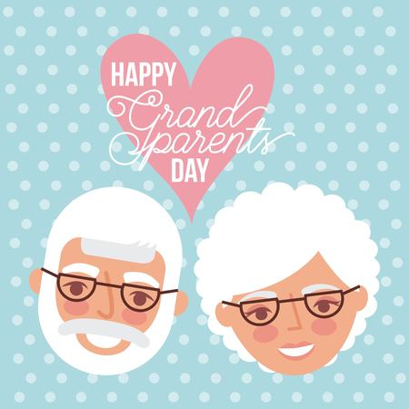 grandparents day dotted background cute faces old couple glasses love heart vector illustration Imagens - 112326688