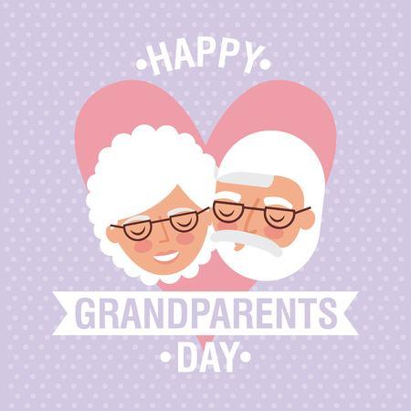 grandparents day heart faces old couple happy ribbon sign vector illustration Ilustração